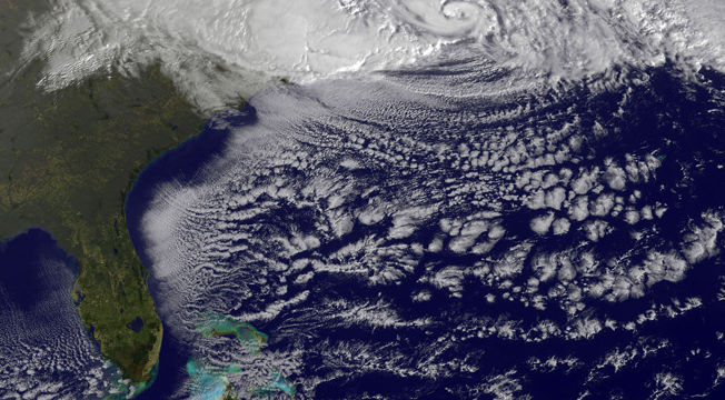 Satellite image of Hurricane Sandy off the US East Coast. Credit: TPM