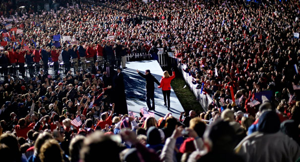 There's no question that this was Romney's biggest rally of the campaign. Credit: AP