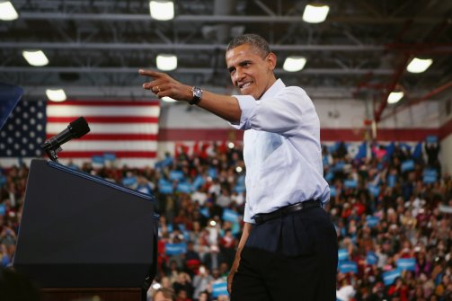 US President Barack Obama addresses a campaign rally at Lima Senior High School November 2, 2012 in Lima, Ohio. (Chip Somodevilla / Getty Images)